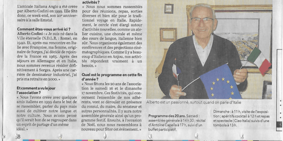 Article Courrier de l'Ouest 12/11/2019